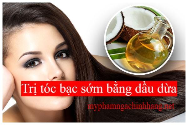 Trị tóc bác sớm bằng dầu dừa