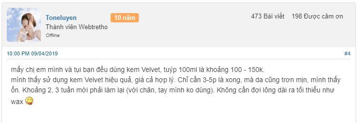 Review tẩy lông Velvet trên Webtretho